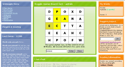 WEBoggle 5x5 screenshot